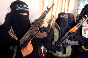 Female Palestinian suicide bombers attend a news conference in Gaza